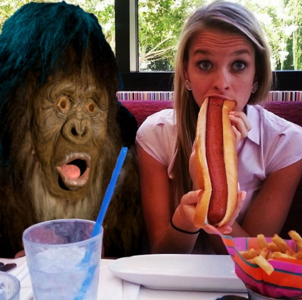 sensational woman is eating hotdog and getting banged  348422